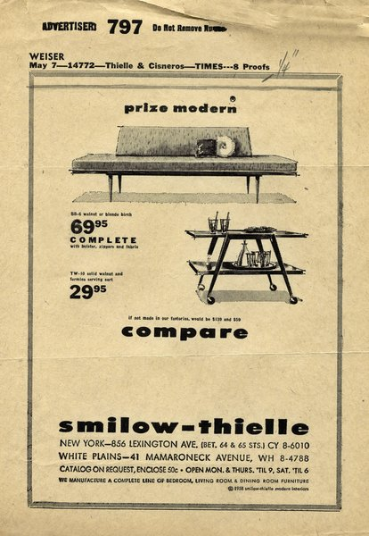 A Smilow-Thielle advertisement appeared weekly on page three of the New York Times in the 1960s through early 1970s. Photo courtesy of the Smilow Family.