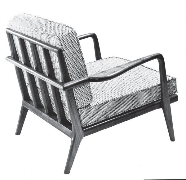 The WAC-33 Rail Back lounge chair featured removable cushion covers to enhance longevity. Reupholstering is expensive, so Smilow- Thielle designed covers to allow consumers to easily refresh the piece. Photo courtesy of the Smilow Family.