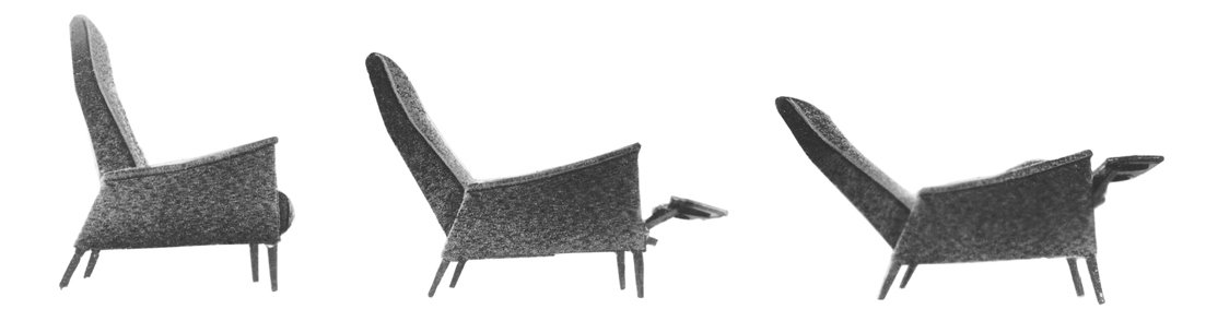 """This is the lightest-looking and least cumbersome recliner on the market today,"" the Smilow-Thielle partners wrote about the WAC-Recliner in their 1969 sales manual. The leg structure was an integral part of the hardwood frame and so did not need screw-in legs. Photo courtesy of the Smilow Family. Mid-Century Designer Focus: Mel Smilow - Photo 7 of 7"
