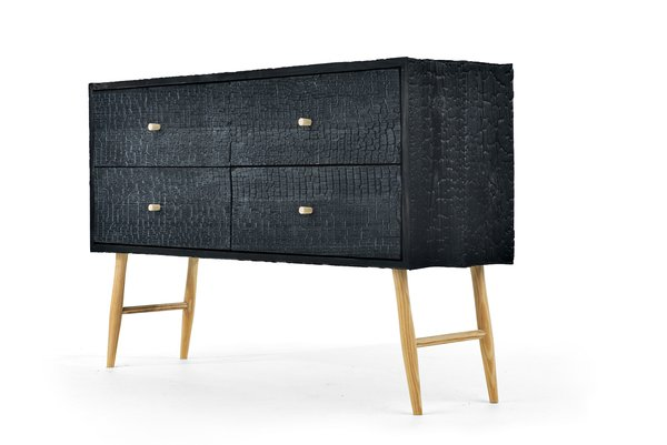 The Charred Ladder Leg cabinet was built from blackened Charleston loblolly pine with a dramatic texture.