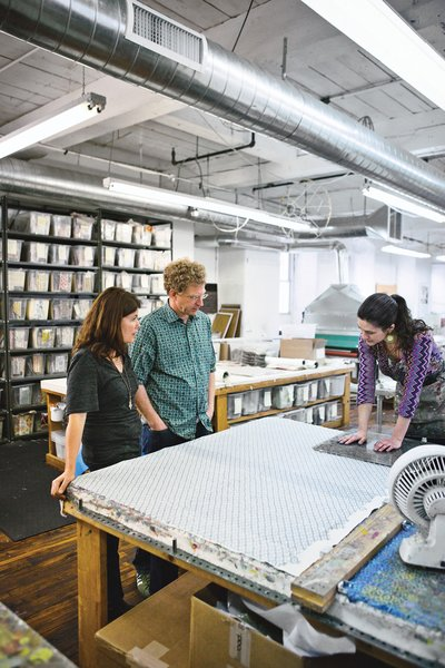 Liz Galbraith and Ephraim Paul update the ancient art of woodblock printing in their studio in a 19th-century mill building in Philadelphia.