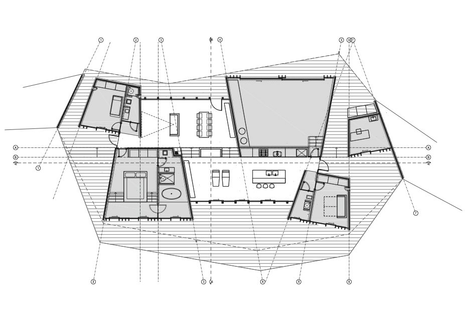 Clifftop House Floor Plan  A Open Kitchen  B Dining Room  C Living Room  D Master Bedroom  E Kids' Bedroom  F Guestroom  G Bathroom  H Home Office  I Sail Loft and Workshop  J Deck