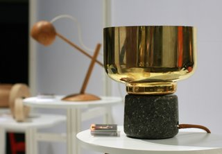 Norway Represents at 2013 Dwell on Design - Photo 6 of 8 - Morse lamp by Morten&Jonas. The series of lamps made out of spun brass; the base is granite stone from Norway, handcrafted into two soft and warm shapes.