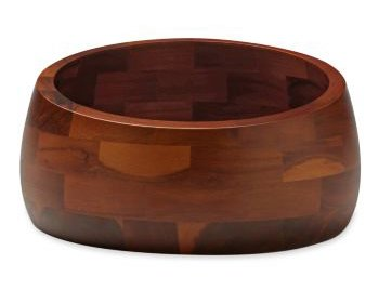 This Salad Bowl is made from acacia wood. The Graves office wanted to up the level of materials used in this collection, but found that instead of getting jcpenney's Chinese manufacturers to work with American woods, it was far better to design them in woods native to China.