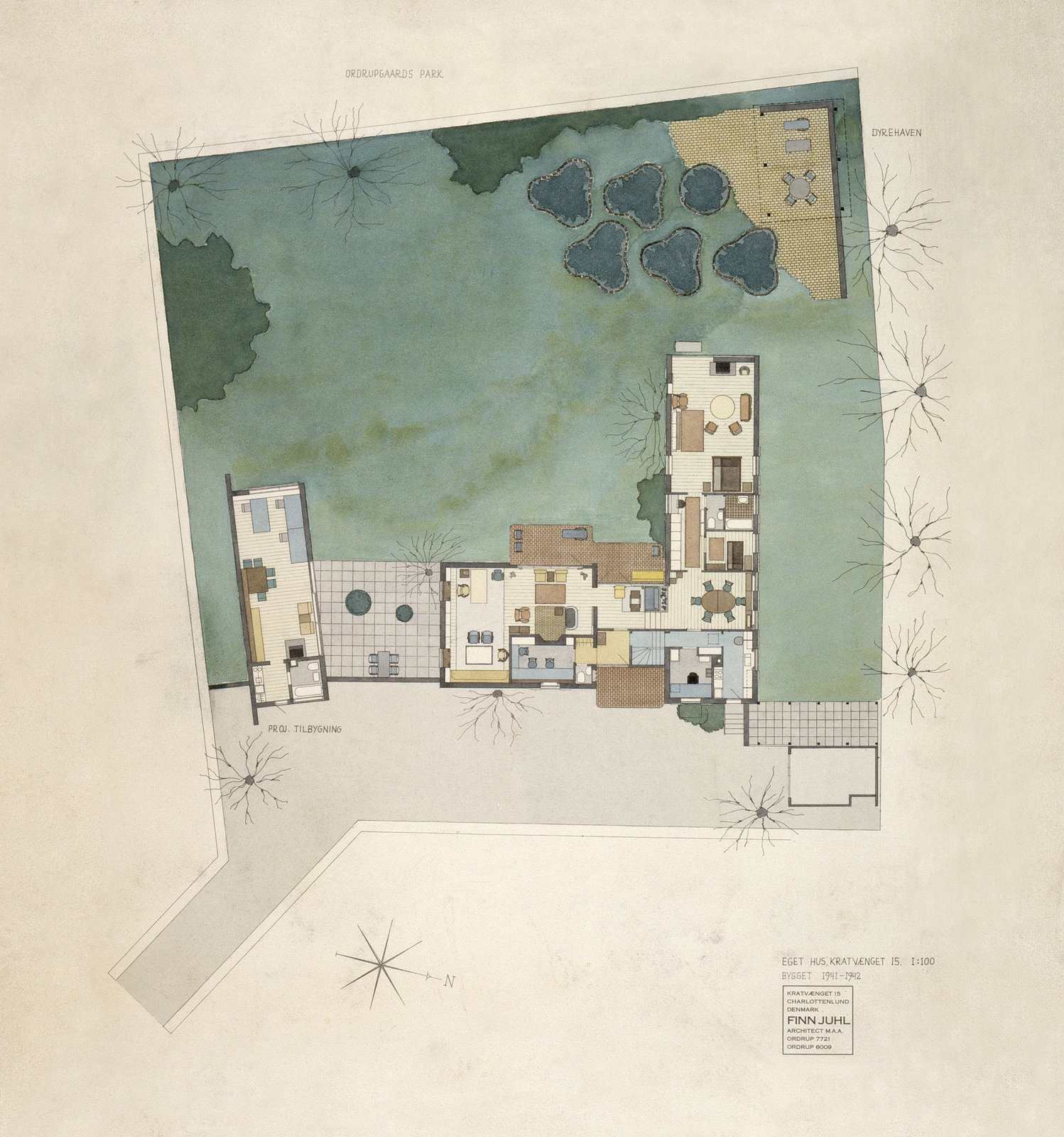 Juhl painted this watercolor rendering of the house in 1968, more than 25 years after the house was finished. The site plan of the property shows a separate building that was supposed to house Juhl's design studio. The plan was never realized and the bedroom facing west was expanded instead.