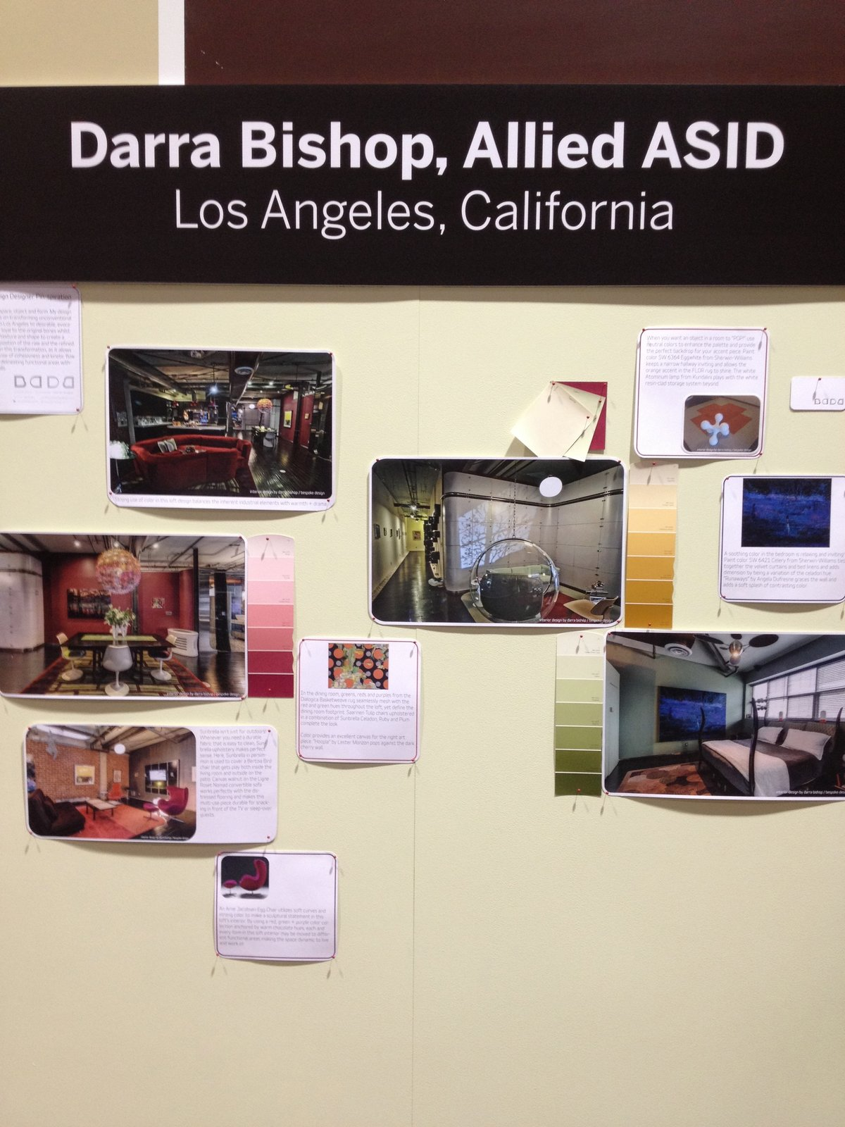 Los Angeles Allied ASID designer Darra Bishop displayed clippings of her favorite pins.  Pinboards Come to Life in the Pinterest Pavilion by Erika Heet