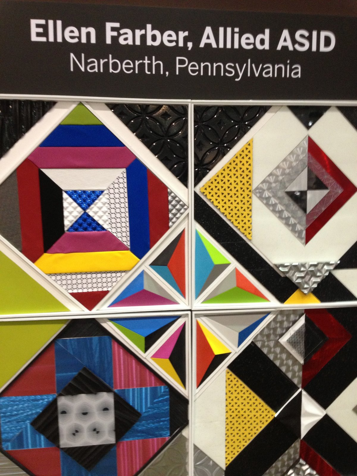 "For her board, Allied ASID designer Ellen Farber of Narberth, PA, created what she calls a ""kaleidoscope of colors.""  Pinboards Come to Life in the Pinterest Pavilion by Erika Heet"