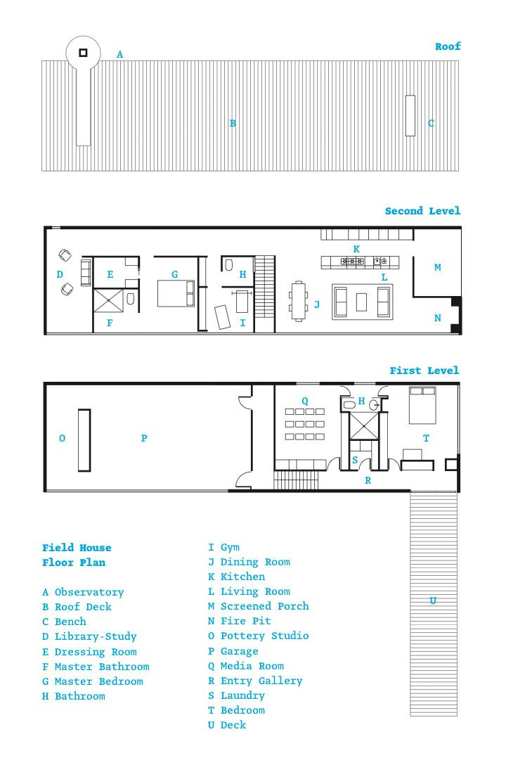 Floor plan of the Field House  Photo 10 of 10 in An Architect References Local Architecture to Build a Modern Home