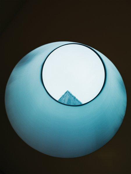 Pulltab's custom 14-inch skylight makes for an artful aperture in the master bathroom.