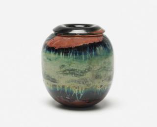"Vases by American Crafstman Kent Ipsen - Photo 1 of 4 - Mass Modern lot 298: Kent Ipsen handblown glass vase from 1972 (4.5"" x 5""); estimate $300-$500."