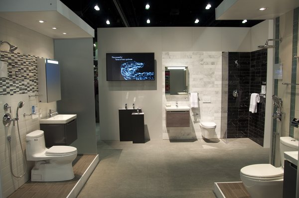 TOTO showcases its range of bathroom products designed with the environment in mind, such as its one gallon flush toilets.