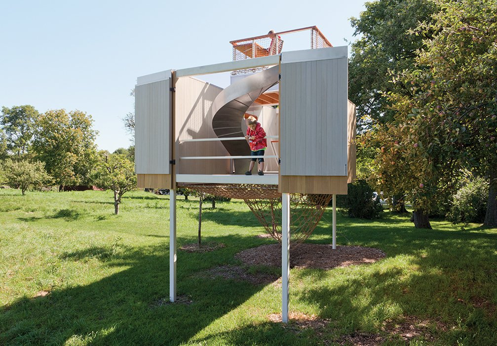 Davis worked with contractor Ted Timmer to construct the playhouse on her family's 30-acre property.