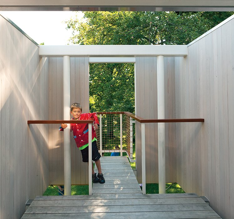 John Milich fabricated the slide in the freestanding treehouse.  Photo 3 of 4 in Kid-Friendly Treehouse in Upstate New York
