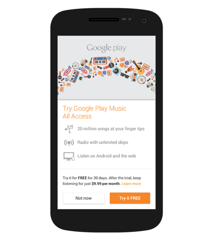 Formerly known as the Android Market, Google Play is a an Android phone-exclusive digital application that allows users to browse and download various types of media, such as music, books, movies, television shows, and apps published through Google. Here, Gison's design on the Android phone.