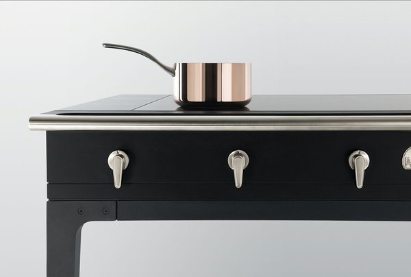 The collection's stovetop is ultra-slender because it uses induction heat.