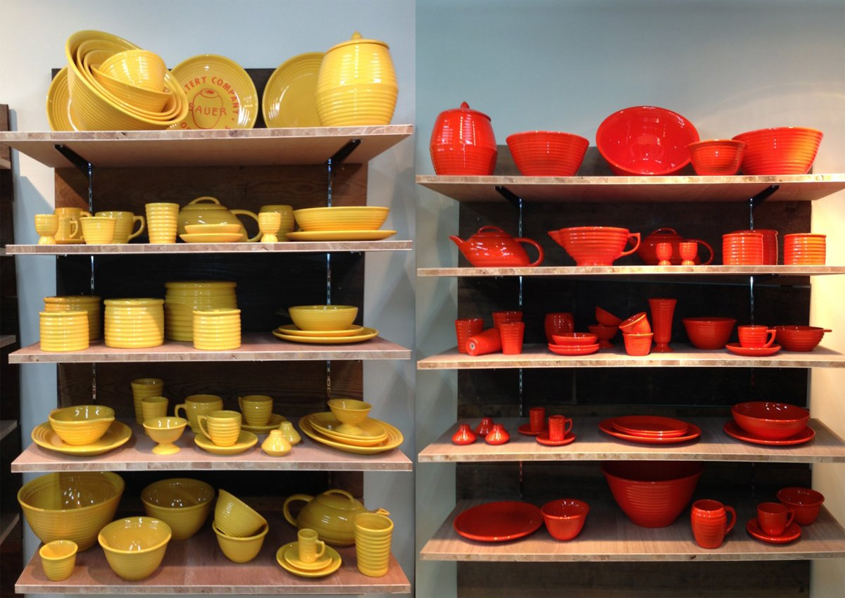 Bauer Pottery's Tokyo showroom sells Russel Wright American Modern dinnerware in a rainbow of colors, including the flame orange version we featured in Dwell's July/August issue.