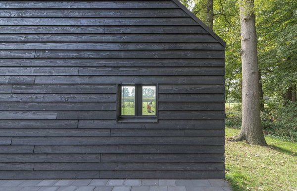 "In keeping with Scandinavian building traditions, locally sourced Douglas fir clads the exterior. ""The clients like the simplicity of [local] barns,"" Koolhaas says. The black paint also helps draw in heat, which is important in the region's cold climate. Photo 2 of Triangular House modern home"