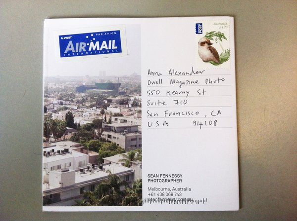 Front fold of the photo promo mailer from Sean Fennessy from Melbourne, Australia.