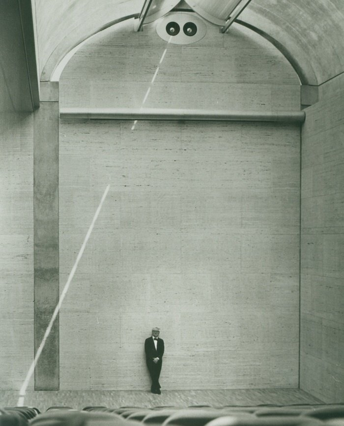 """Louis Kahn at the Auditorium of the Kimbell Art Museum, 1972   The architect famously asked, """"What does this building want to be?"""" when starting a project. In the case of this museum, Kahn incorporated skylights to diffuse natural light throughout as a way to illuminate the artworks. Design Icon: 9 Buildings by Louis Kahn - Photo 1 of 10"""
