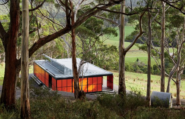 Upon his first visit to Tasmania, an island south of the Australian mainland, resident David Burns was immediately smitten with its varied, pristine landscape. Working with architecture firm Misho+Associates, he built a self-sustaining, 818-square-foot retreat that would allow him to completely unplug from urban life.