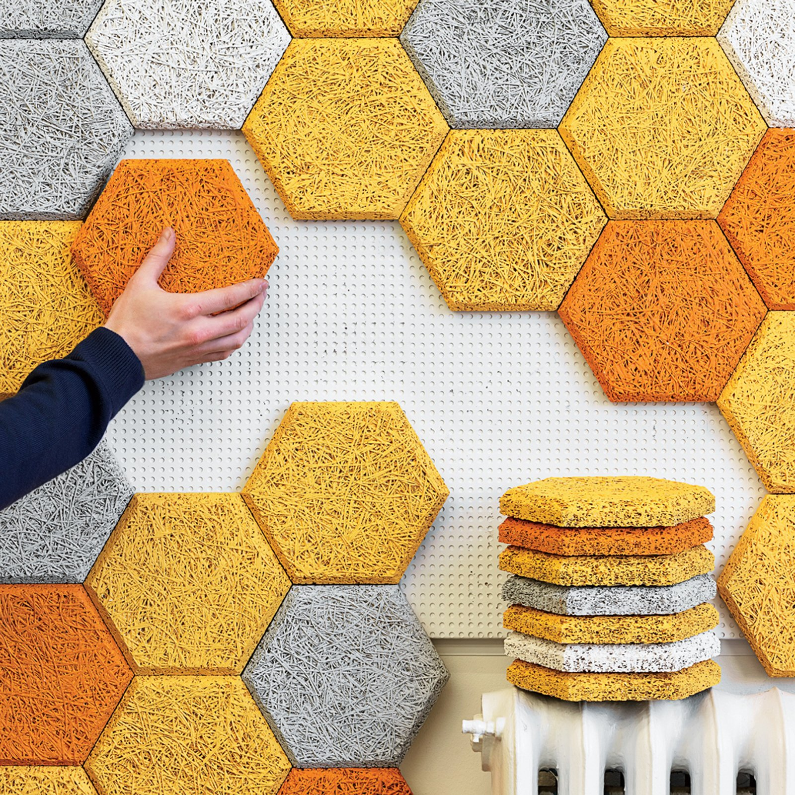 How to Use Modern Home Decor in Unexpected Ways - Photo 1 of 9 - BAUX Acoustic WoodWool Panels & Tiles are made from wood wool, cement, and water—and are recyclable and eco-friendly.