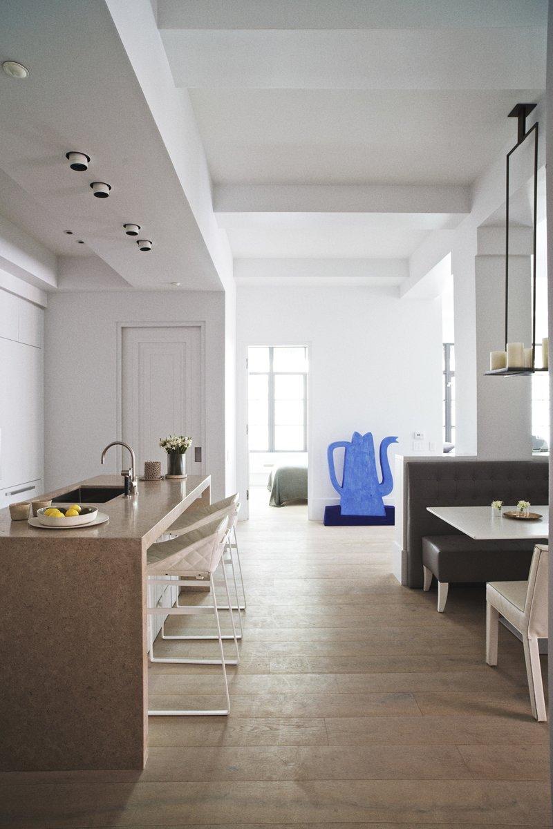 "Flooring is 8"" wide oak plank floors from Piet Boon flooring by Solidfloor."