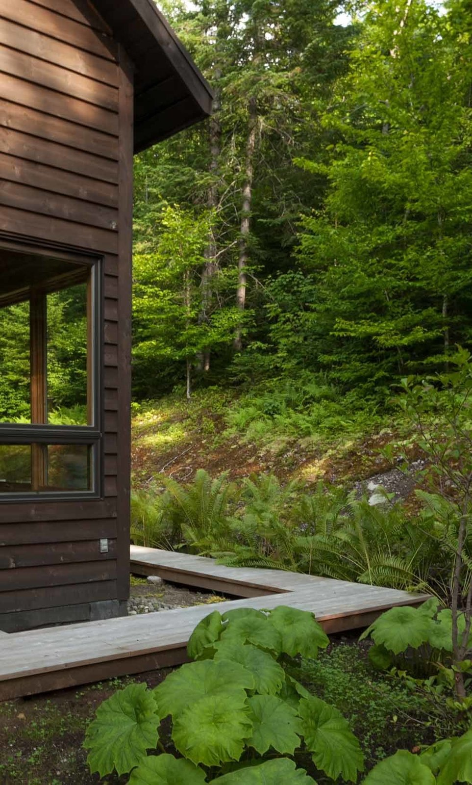 Large windows make the forest a constant presence indoors.  A wood walkway runs along the perimeter of the house.  Cabin by kassidydavies@gmail.com from A Nordic-Inspired Woodland Cabin in Quebec