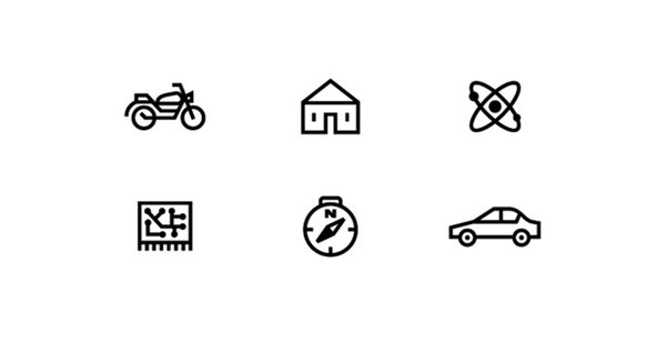 Icons for different sections in Popular Mechanics magazine.
