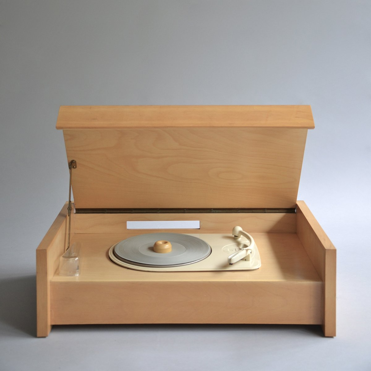 "An earlier version of the record player and one of a foundational group of designs produced in 1955, the inaugural year of Braun Design. Braun G 12 (Valvo chassis) by Hans Gugelot, on sale for £650.  ""Although production of Gugelot's G series continued into the early '60s, this vocabulary was soon eclipsed by Ram's development of a less romantic, more affirmatively industrial approach,"" writes Kapos. Sound Style by Stephen Blake"
