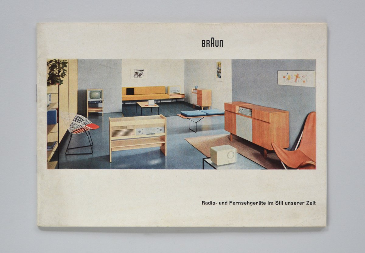 Das Programm also offers printed material and merchandising for the serious collector, like this 1955 brochure designed by Otl Aicher.  Photo 8 of 8 in Shop the Vintage Braun Catalog from Your Web Browser
