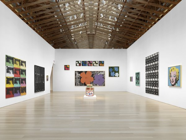 "On display are the classic ""Marilyns,"" flowers, Brillo boxes, and Polaroids, as well as the Maos and Basquiat prints.<br><br>Credit Stefan Altenburger, Courtesy The Brant Foundation"