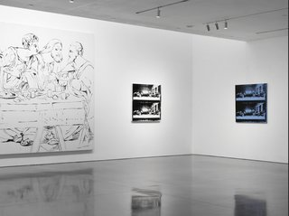 One of his final works before his death 1987; Warhol's The Last Supper is on view in the final large room, surrounded by complementary detail prints. The piece, which Warhol traced onto canvas in black ink from a photocopied image of Leonardo da Vinci's masterpiece, ads fittingly somber tone to the end of the exhibit.<br><br>Credit Stefan Altenburger, Courtesy The Brant Foundation