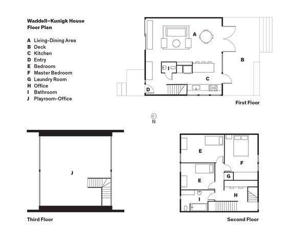 Waddell–Kunigk House Floor Plan<br><br>A    Living-Dining Area<br><br>B    Deck<br><br>C    Kitchen<br><br>D    Entry<br><br>E    Bedroom<br><br>F    Master Bedroom<br><br>G    Laundry Room<br><br>H    Office<br><br>I    Bathroom<br><br>J    Playroom-Office