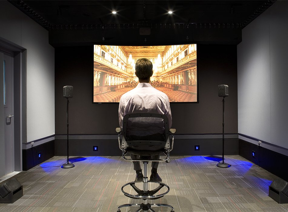 At Arup's Chicago SoundLab, audio engineers listen to and model a space's acoustics in order to optimize sound for performance and navigation purposes.  Photo 4 of 6 in An Architect Lost His Sight and Kept Working Thanks to Breakthrough Technologies for the Blind