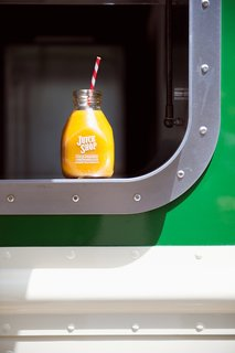 Freshly Squeezed: Mobile Juice Truck Makes Its Debut - Photo 4 of 9 - The window is outlined with a stainless steel portal that widens at the bottom to become a continuous transaction counter. <br><br>Photo by: Meg Haywood-Sullivan