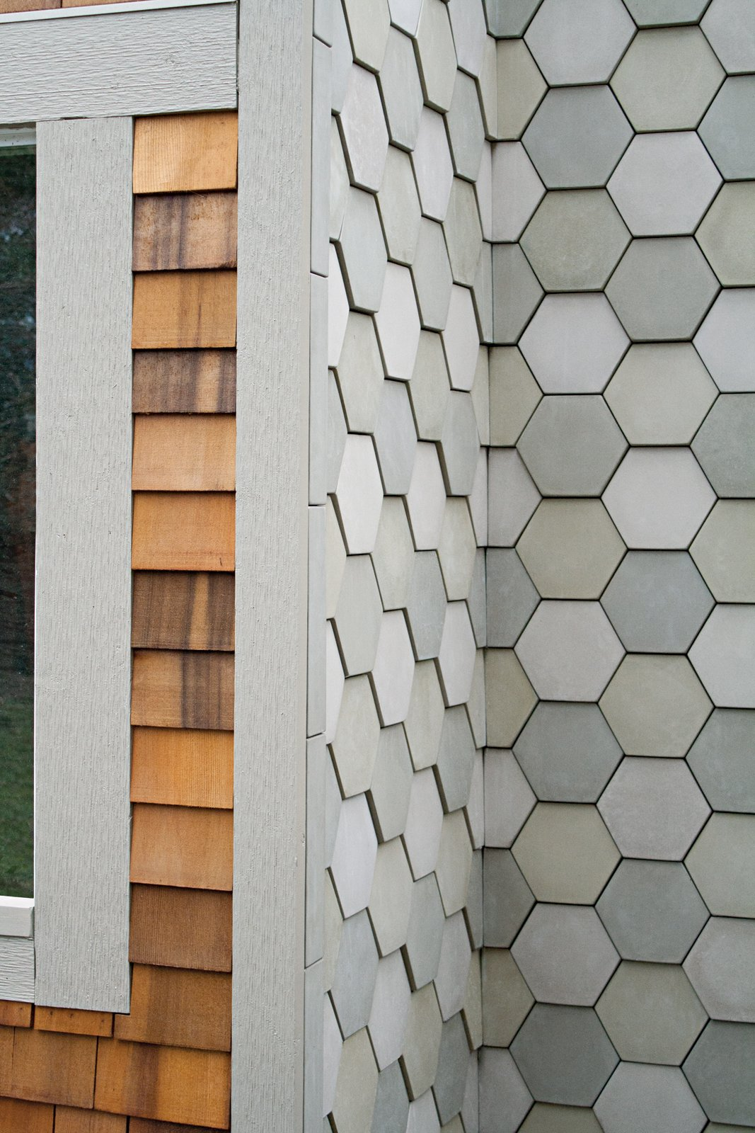 The Portland Cement Company makes these tiles out of a proprietary concrete, which is cast in a wedge-shaped seven-inch-hexagon mold and left to dry overnight, then for a few weeks on a baking sheet.  50+ Modern Tile Ideas for Walls, Floors and Ceilings by William Lamb from How to Design with Hexagon Patterns