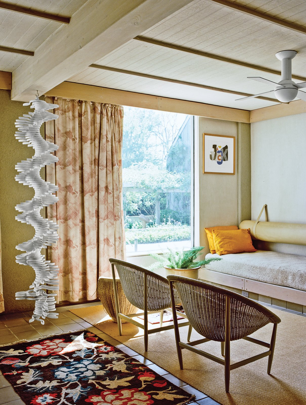 The ground-floor guest room sports built-in beds and a hanging sculpture by Robert Clark. Q&A with Textile Designer Jack Lenor Larsen - Photo 4 of 12