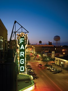 The Fargo Theatre at night. <br><br>Photo by: David Bowman