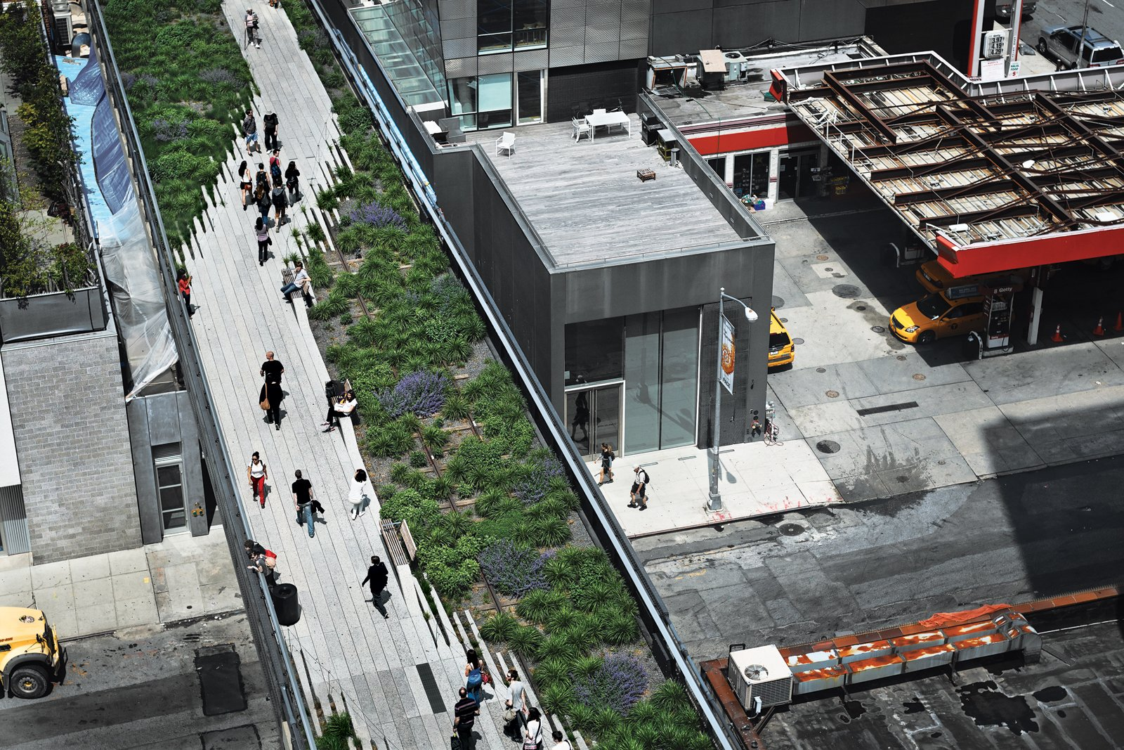 View of the High Line public park, a former elevated New York Central Railroad spur, or branch line.  Photo 1 of 1 in What to Expect from the 2017 Universal Design Conference from Eye in the Sky: Urban Apartment Overlooking NYC's The High Line