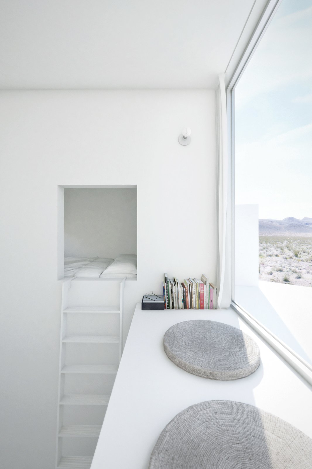 A bedroom occupies the top of each tower; a ladder leads to a sleeping nook and an east-facing window seat in the Sunrise suite.  Photo 7 of 8 in Design Tips for Privacy