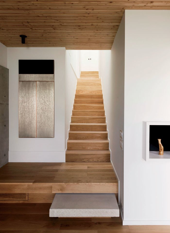 White-oak stairs connect the first-floor living spaces with the upstairs sleeping areas. 190+ Best Modern Staircase Ideas by Dwell