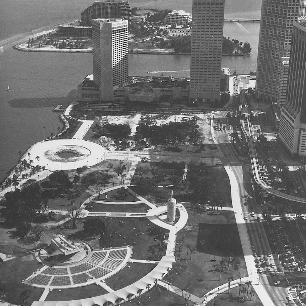 "Bayfront ParkMiami, Florida  When the city of Miami commissioned Noguchi to redesign Bayfront Park in downtown Miami, Florida, the area was underutilized. ""The idea was that it would be a park for people—not an escape from the city, but a place to go to, a place for congregation,"" Noguchi said about the design. It features a 20,000-seat amphitheater, rock gardens, ample vegetation, and an esplanade."