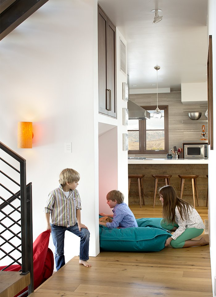 An interior slide was the first of the unexpected amenities the homeowners requested.