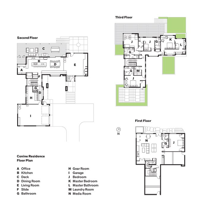 Conine Residence Floor Plan  Photo 11 of 11 in A Custom, LED-Lit Slide Twists Through This Family-Friendly Vacation Home