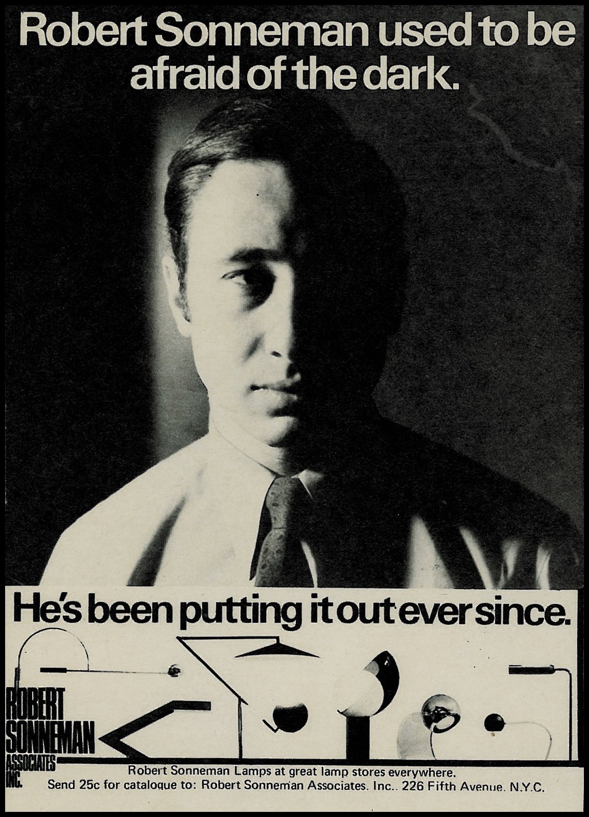 Throughout Sonneman's years of being in the industry, he managed to turn lighting design into an art form, while creating a strong alliance between form and function. This advertisement from the early 1970s shows the range of artistic forms he brought to production in the early years of his business.  Photo 2 of 10 in The Lighting Designer Who Has Melded Form with Function for Decades