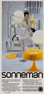 The Lighting Designer Who Has Melded Form with Function for Decades - Photo 4 of 10 - At the forefront of this 1970s advertisement is Sonneman's Mushroom table lamp in a distinct mustard hue. It was constructed of spun aluminum and was topped off with a chrome tipped bulb. Though this piece is no longer in production, some of his original designs from the era are still around today.