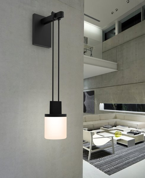 For a subtler statement, the Mini Single sconce consists of a single drum style luminaire that hangs from a wall-mounted power feed. Throughout the collection, the LED luminaires are available in eleven different styles, so you're sure to find the perfect configuration for your home.
