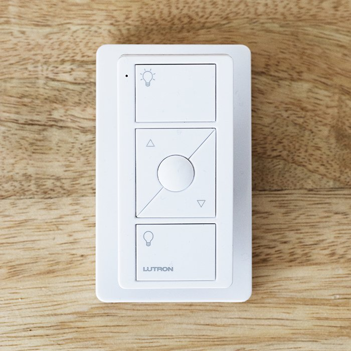 The Pico Remote by Lutron is smaller than a deck of cards and operates the dimmable lighting in the great room.