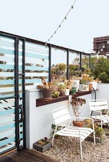 The Bensons' patio is semi-privatized by horizontal slats.