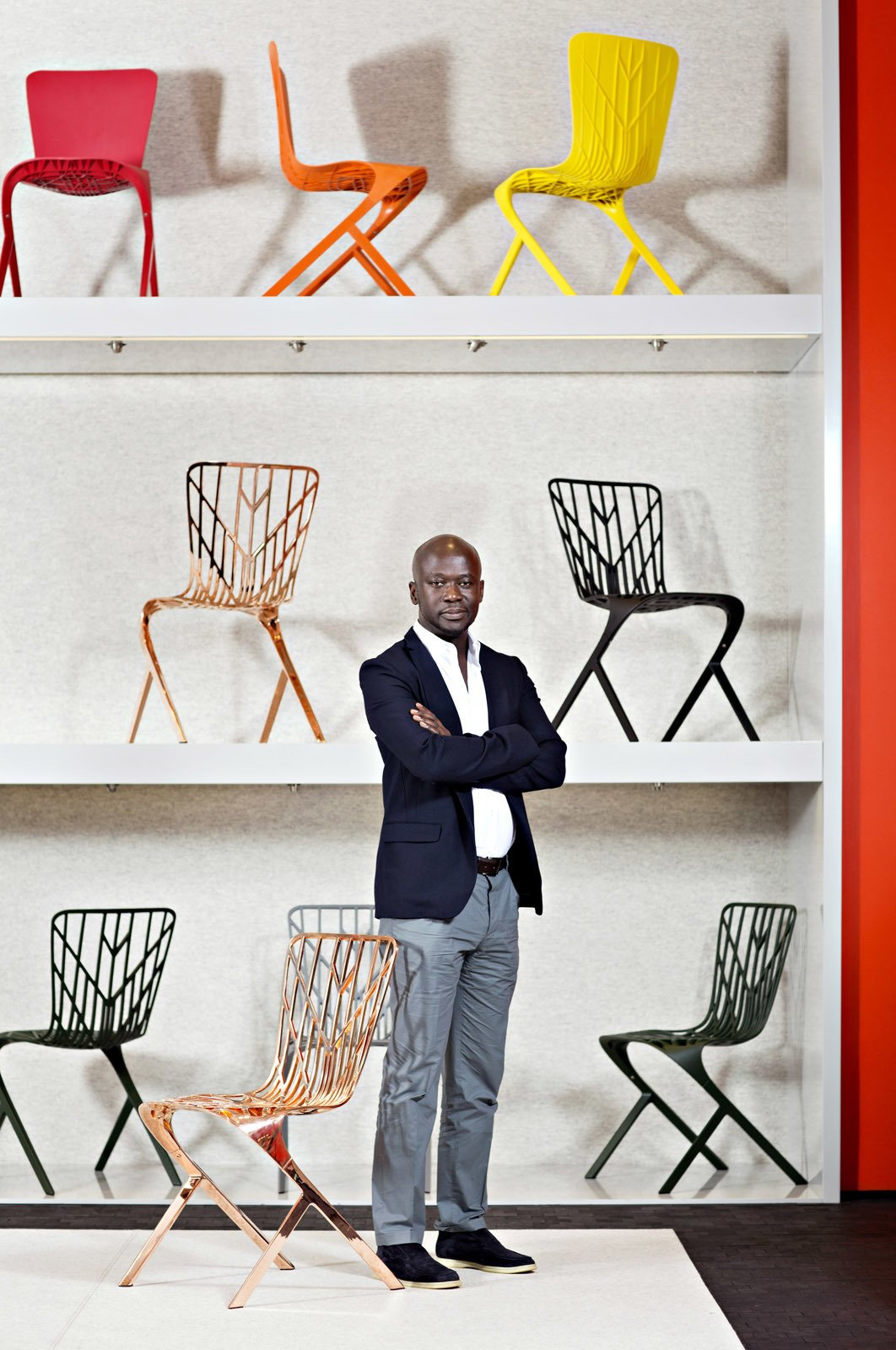 Dwell: Your collection's release coincides with Knoll's 75th anniversary. What was it like to collaborate with a company that has such a long—and revered—history?  Adjaye: It has been a huge learning curve. It was like a testing ground for ideas that interest me and an opportunity to engage in a production process with Knoll's technical team. While I have previously designed objects—I have never worked on production furniture. It is very different. Furniture can be everywhere and used by everyone, unthinkingly in their daily lives—it is a background. There is something very powerful and very rewarding about that.  Photo by Dorothy Hong